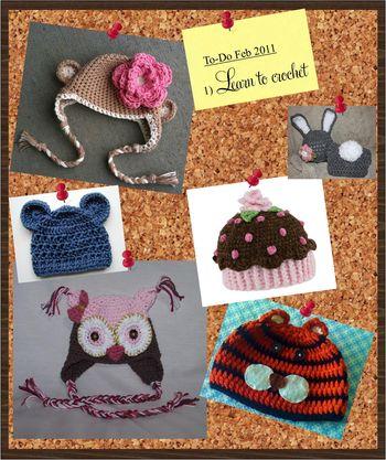 Crochet caps collage