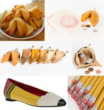 Fortune cookie purse and pencil flats