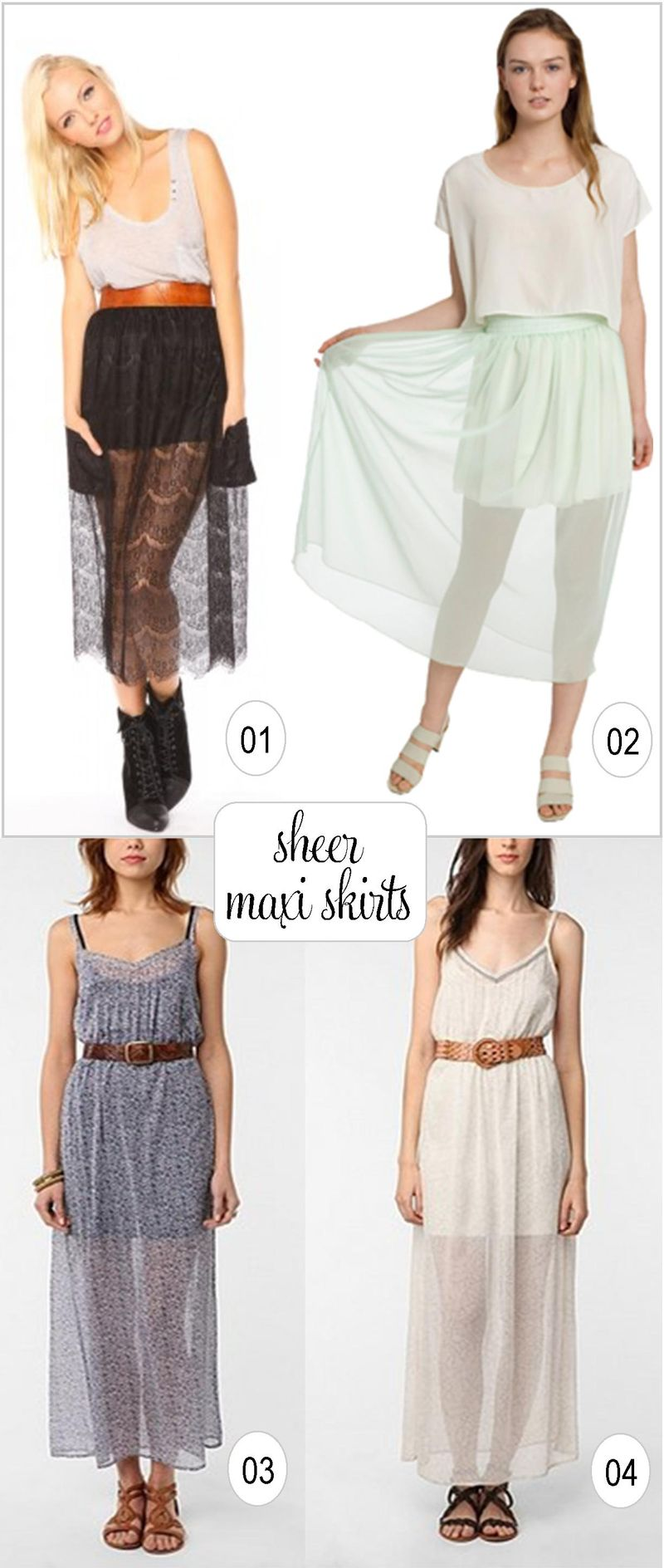 Sheer maxi skirts collage