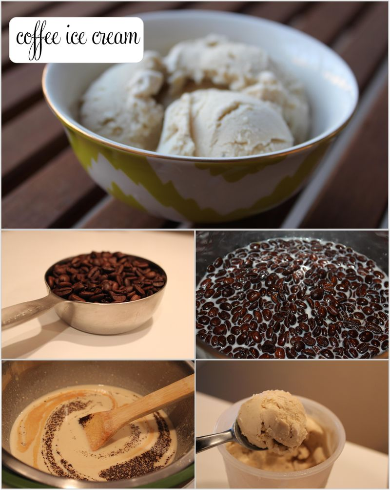 Coffee ice cream collage