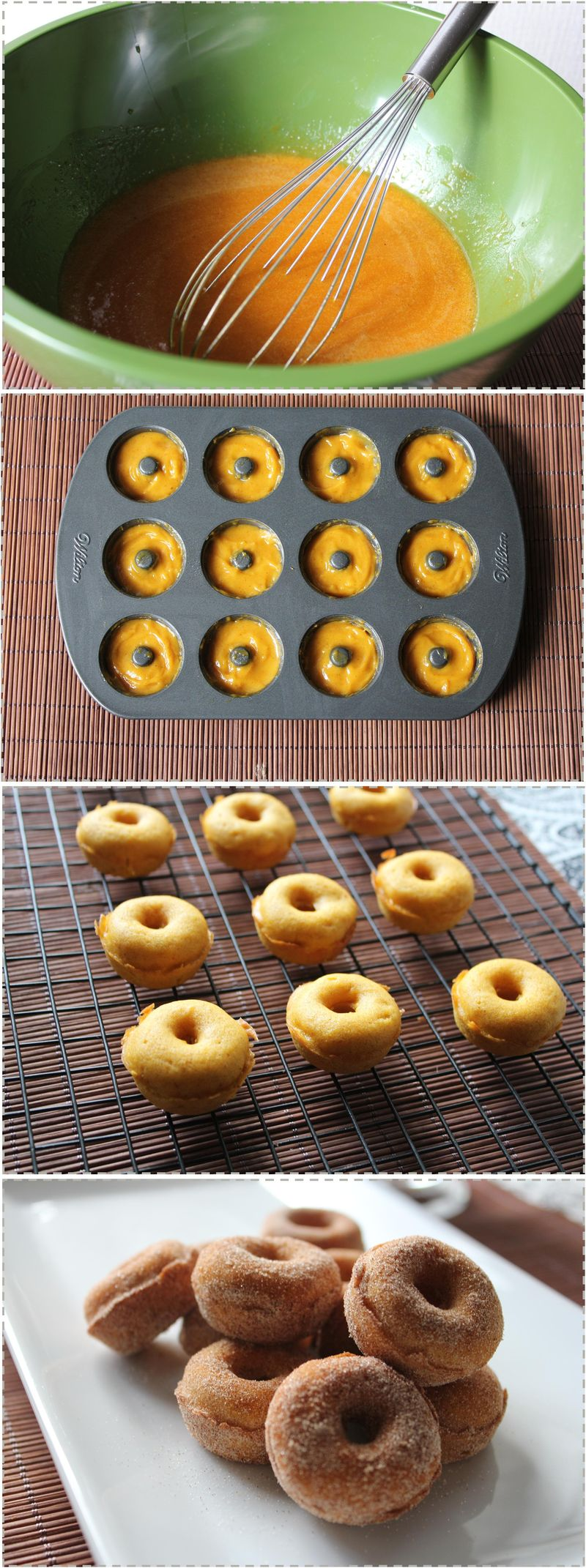 Pumpkin doughnuts steps